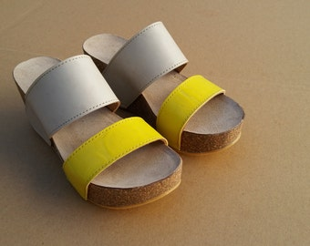 Holidays Sale 20%, Free Shipping, platform sandals,  vegan Sandals, Summer Shoes, , Straps Sandals  VEGAN LEONOR beidge yellow