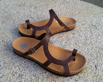 Sale 20%, Free Shipping, vegan Sandals, women sandals, vegan shoes,  Summer Shoes, Straps, vegan flats, low heels sandals, LUNA BROWN
