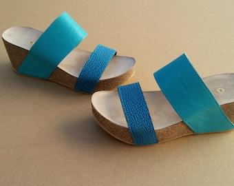 Holidays Sale 20%, Free Shipping, platform sandals,  vegan Sandals, Summer Shoes, , Straps Sandals  VEGAN LEONOR blue