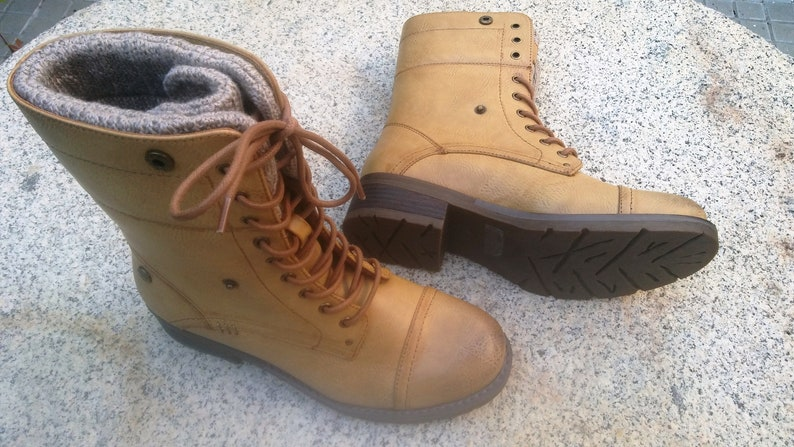 brand new d9f21 f2766 Free Shipping, Vegan Boots, vegan , camel Boots, Winter Shoes, Lace Boots  AMORMIO CAMEL