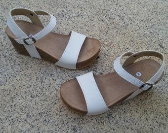 Holidays Sale 20%, Free Shipping, platform sandals,  vegan Sandals, Summer Shoes, , Straps Sandals  VEGAN style CITY white