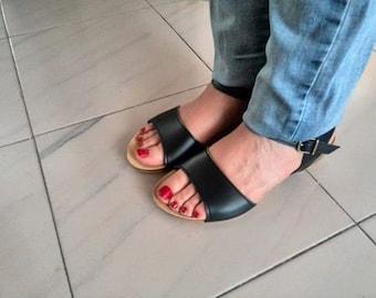 Holidays Sale 20%, Free Shipping, vegan Sandals, black and camel, Summer Shoes, Straps Sandals  vegan women  PARIS BLACK