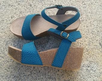 Holidays Sale 20%, Free Shipping, platform sandals,  vegan Sandals, Summer Shoes, , Straps Sandals  VEGAN style CITY blue elektra