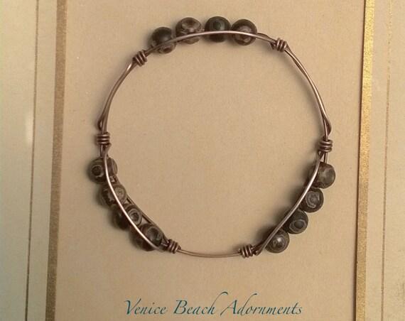 Copper bangle wire wrap bracelet w/ Tibetan Agate