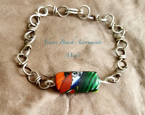 Men's handmade silver chain bracelet with African bead