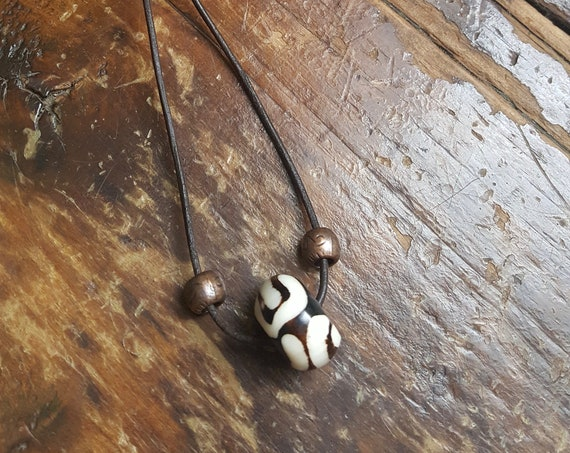 Bone and Solid Copper beads on Brown Leather Cord Necklace