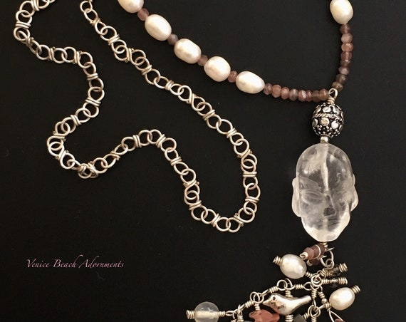 Handmade silver beaded tassel necklace with large crystal Buddha