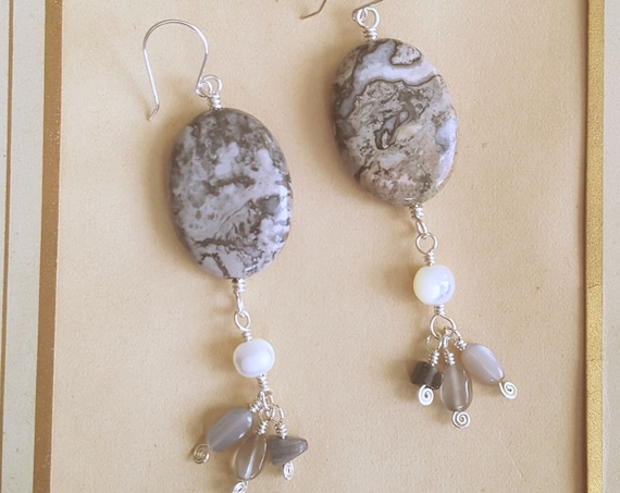 Gray Lace Jasper earrings with gemstone dangles