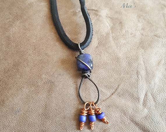 Men's Leather Necklace with Steel wrapped Sodalite