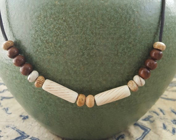 Mens Brown leather necklace with bone barrel beads, picture jasper and wood beads.
