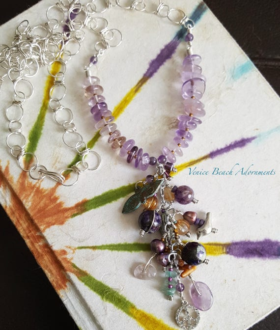 Amethyst gemstone tassel necklace on handmade silver filled chain. Colorful  boho chic necklace