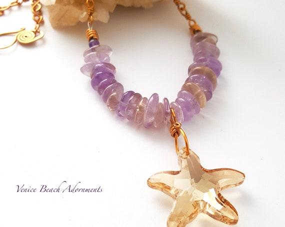 Amethyst with citrine Necklace with Beautiful Swarovski Starfish Pendant