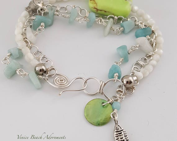 Malibu Summer:  Multistrand bracelet with chalcedony, shell and handmade silver filled chain