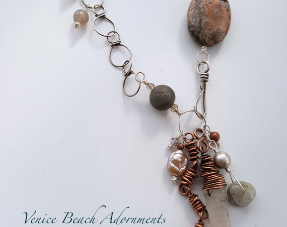 Silver lariat beaded tassel necklace with jasper and crystal