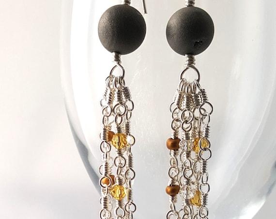 Silver Tassel Statement Earrings Handmade silver earrings with metallic druzy bead and beaded chain tassel