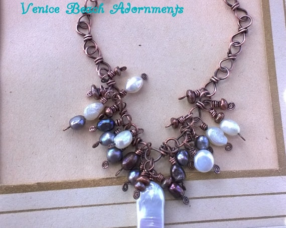 Handmade copper necklace with natural pearl cluster.