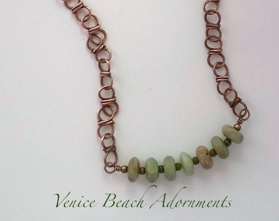 "copper chain choker w/ African opal stones. 18"""