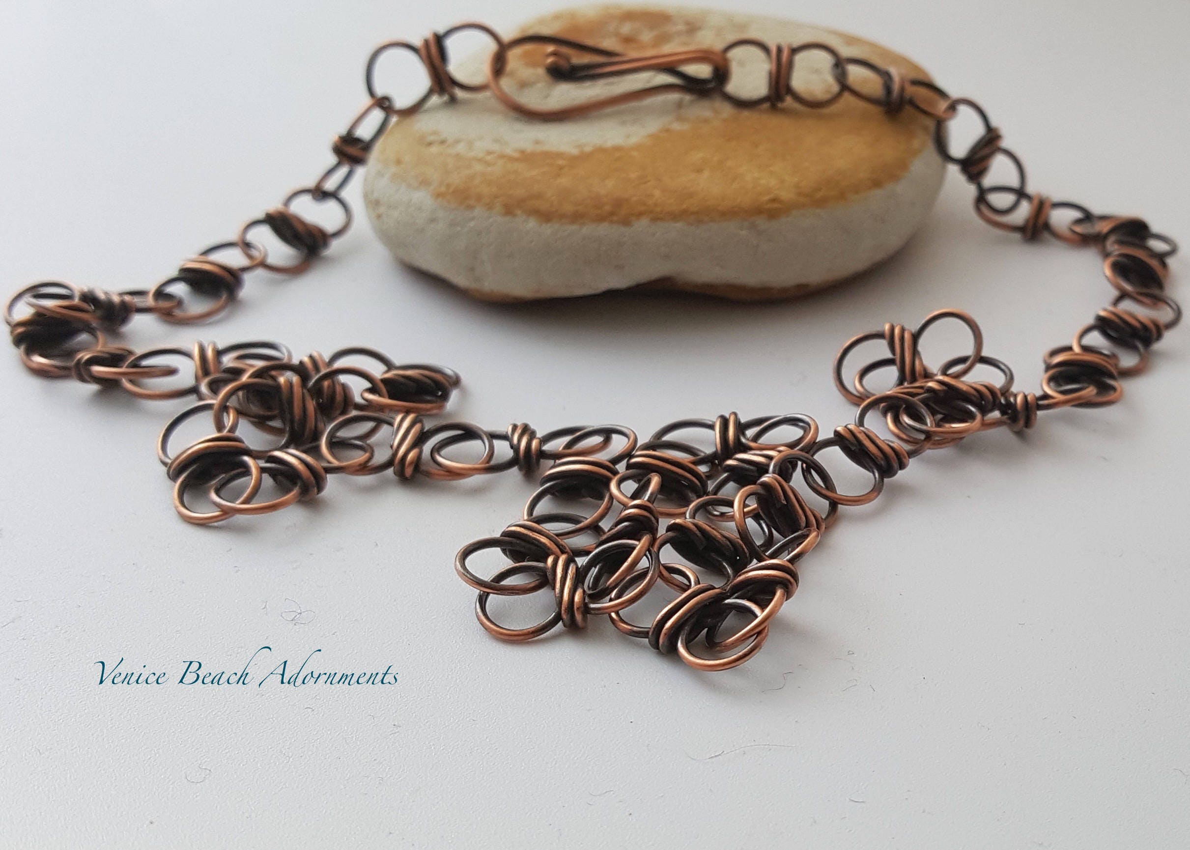 07c5fc3033a96 Handmade Solid Copper Chain Necklace with Wrapped Links