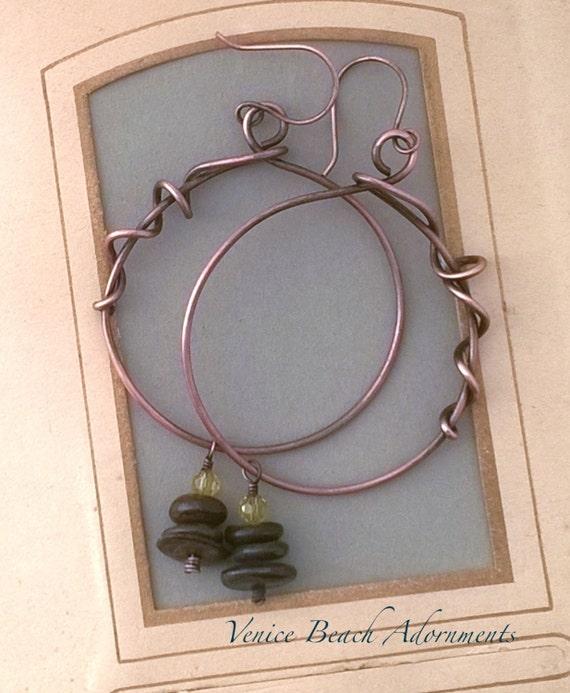 Large Copper wrapped hoop earrings with bronzite gemstones
