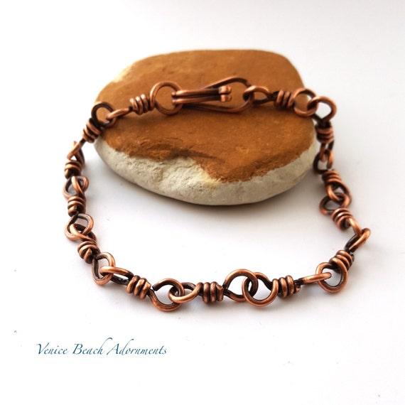 Men's handmade copper chain bracelet