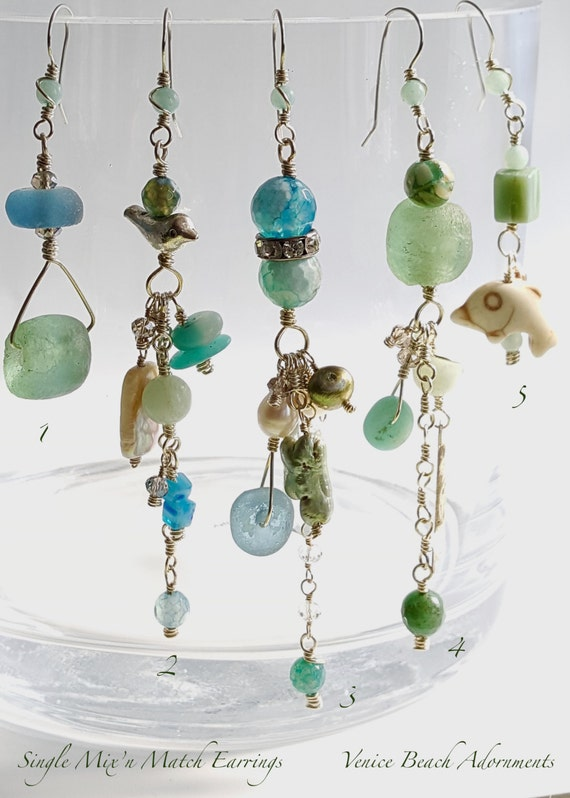 Asymmetric earrings.  Malibu Summer Single earrings Mix 'n Match Ocean Hues
