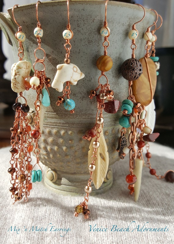 Asymmetric earrings.  Single Mix 'n Match Earrings  in copper with bone, turquoise, Tibetan agate, and jasper