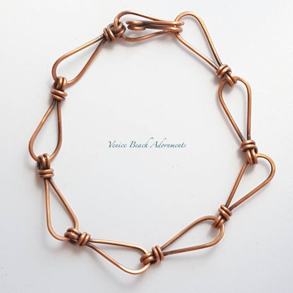 Men's solid copper wrapped links bracelet