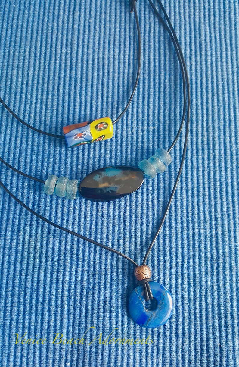 Black Agate and Blue Recycled Glass on Black Leather Cord