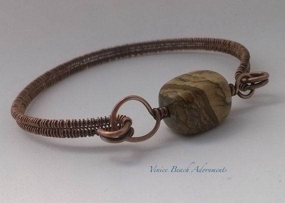 Copper Wire Bangle w/ picture jasper gemstone