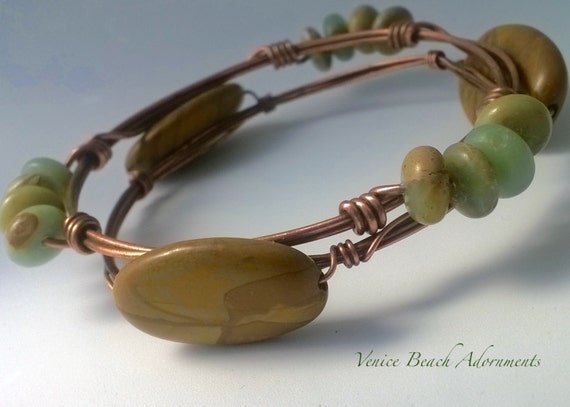 Fall Colors Copper Stacking Bangle w/ 12 African Opal rondelles.