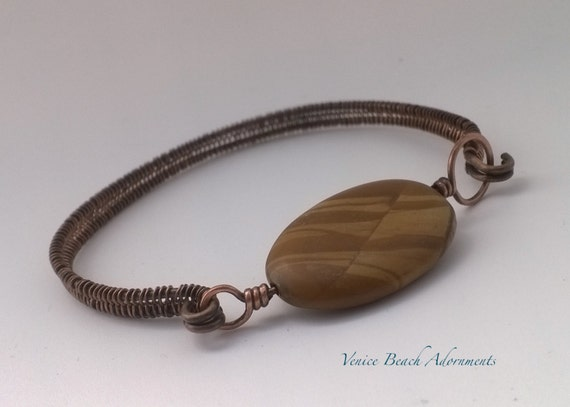 Copper Wire Bangle with Scene Jasper oval gemstone