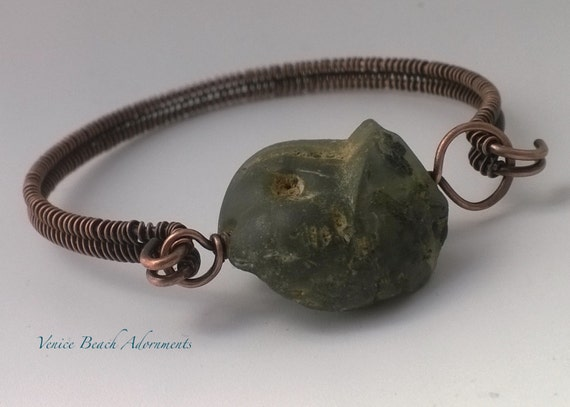 Copper Wire wrapped Bangle w/ green raw fluoride nugget