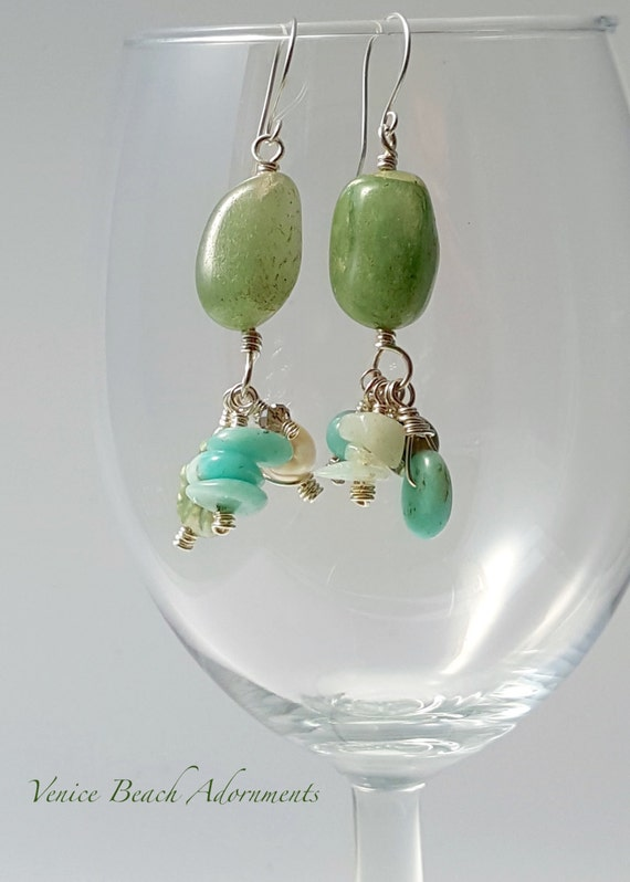 Green Adventurine dangle earrings with pearl and chalcedony