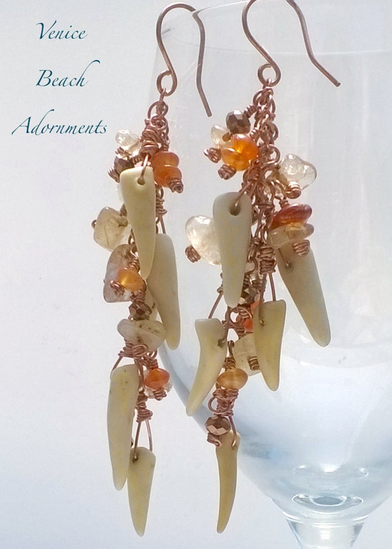 "Tassel Earrings Copper wire wrapped gemstone tassel earrings, Orange and Cream.  3"" long."