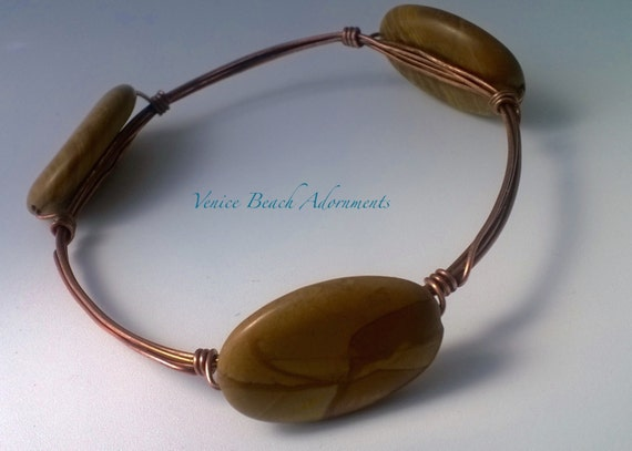 Copper Stacking Bangle.  Handmade wire wrapped bracelet with Scene Jasper gemstones.