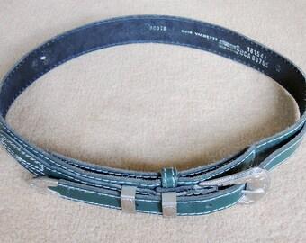 Ceinture vintage en cuir vert ceinturon boucle métal taille S 38 ceinture  de jeans style cowboy en cuir gravé, ceinture rétro années 90 587f8ba9dab