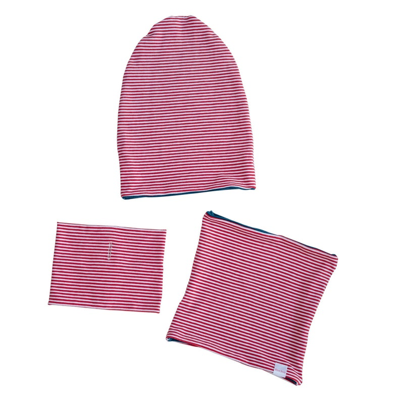 c7399d0ce08 Red Striped Slouch Beanie and Neck Warmer Set Merino Wool