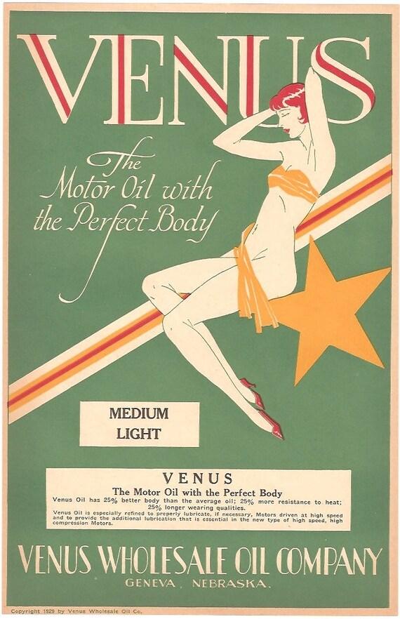 Vintage Original VENUS OIL Box Label 1920s Art Noveau Old Stock Unused NOS