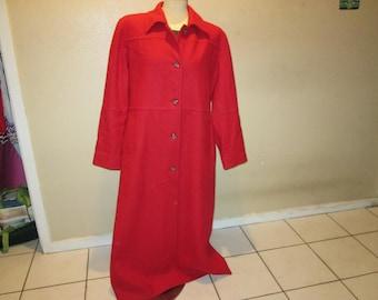 081c1c15553c Red Wool Blend Harve' Bernard Full Length Coat 12