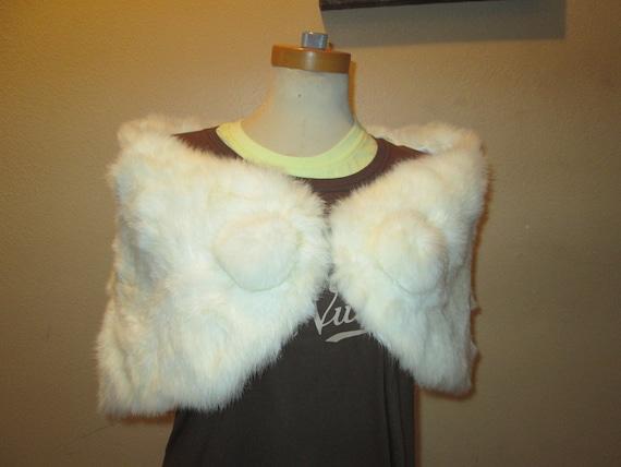 FINAL SALE White Rabbit Fur Shrug
