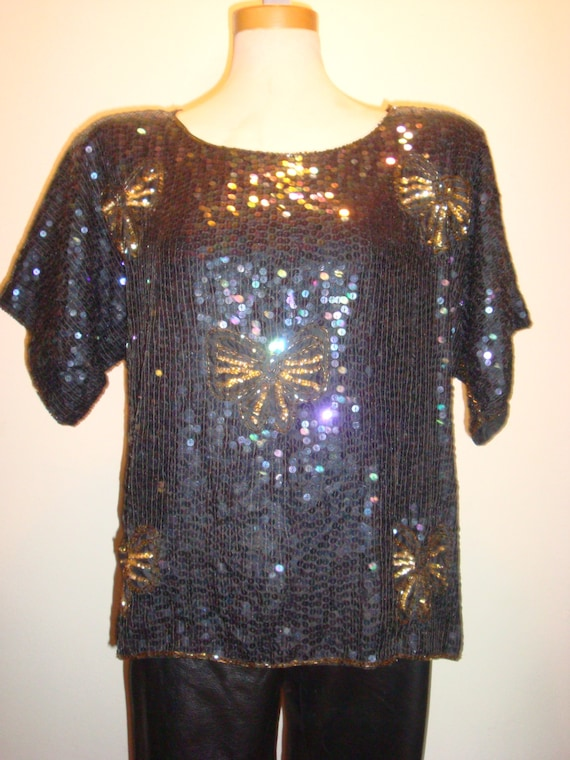 Black Sequins w/Bows Jewel Queen Pure Silk Blouse