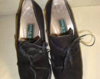 Final Clearance Black Suede Cole Haan Oxfords 6B