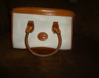 White and Brown Leather Dooney and Bourke Satchel