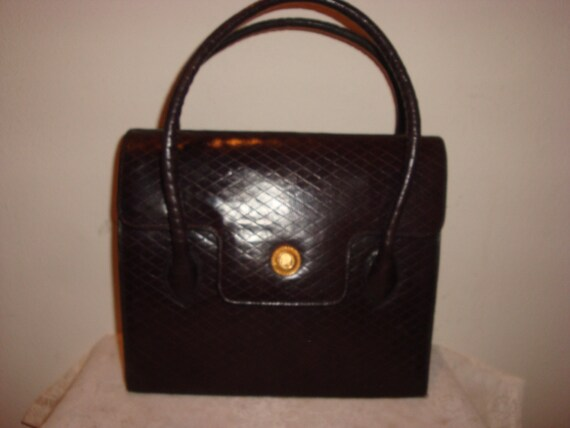 Chocolate Brown Quilted Leather Albert Nipon Handb