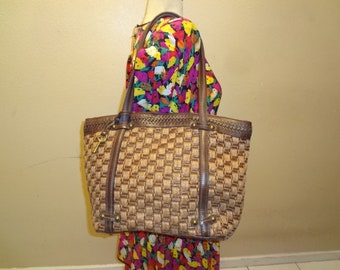 Brown Woven Fossil Tote Shoulder Bag