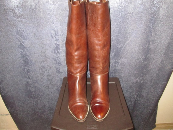 Brown Leather Joan and David Riding Boots 9.5M