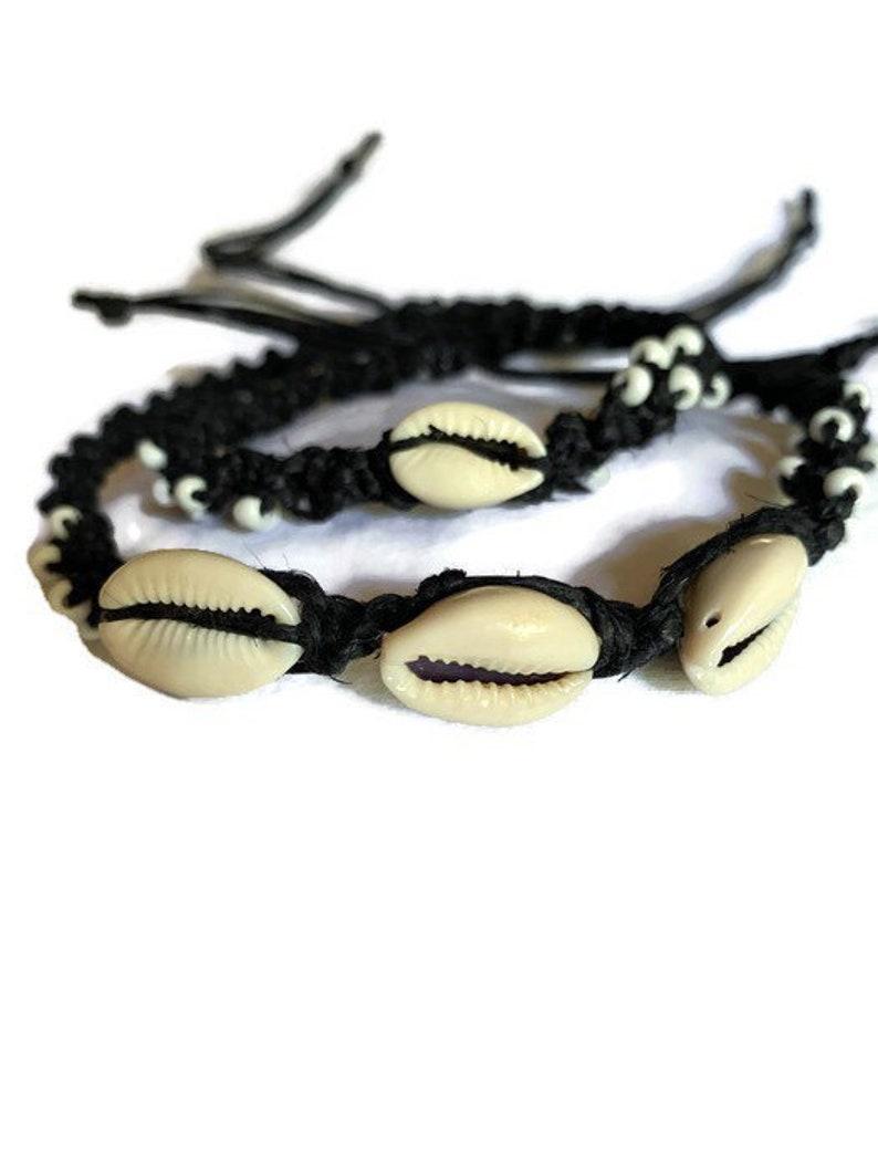 white seed beads and shells Black hemp necklace and bracelet set Black hemp