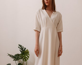 Woman's white elegant dress / special occasion wrap dress with sleeves / knee length simple dress / plus size woman's dress / Fasada 18035