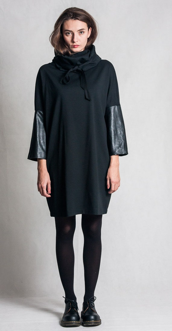 Black Cowl Neck Dress Oversized Dress With Leather Sleeves Etsy
