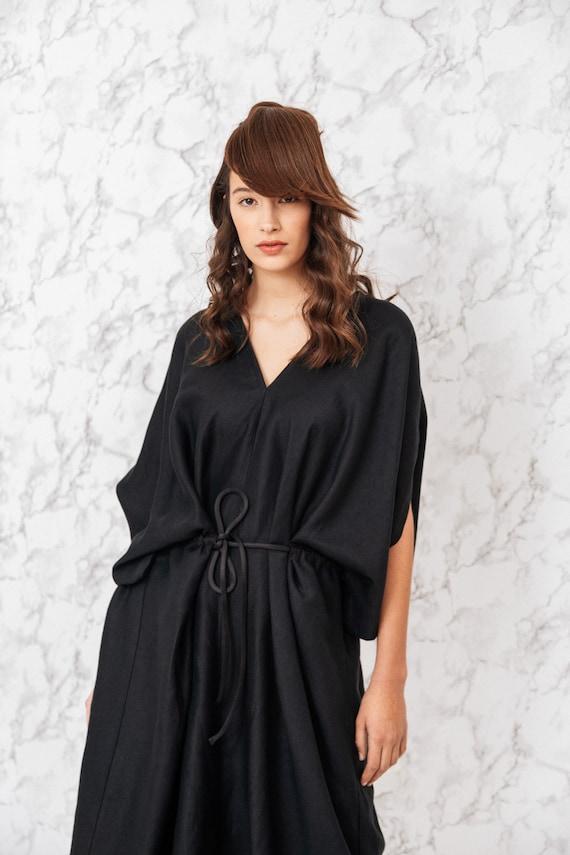Amazing black woman's dress midi plus size woman dress kimono style v neck dress summer long linen dress Fasada 19015
